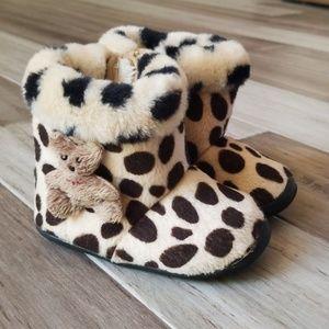 Agi Bang Animal Print Fur Boots with Teddy Bear